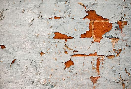 Peeling from masonry and brick